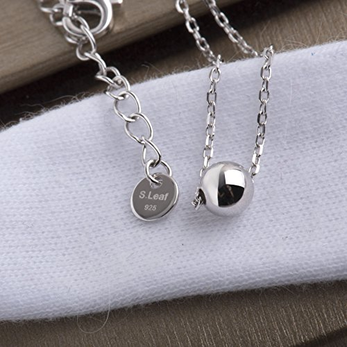 SLeaf-Solid-Ball-Bead-Necklace-Sterling-Silver-Simple-Dot-Necklace-High-Polished-5mm