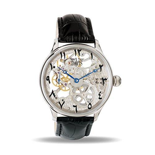 Davis 0890EAST Men's Skeleton Mechanical Watch Skelet Movement Eastern Arabic Numbers Black Leather Strap