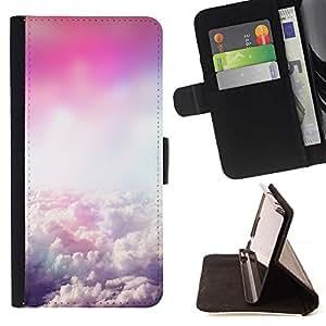 For LG G2 D800 Case , Se nubla el cielo Flying Dios rosa- la tarjeta de Crédito Slots PU Funda de cuero Monedero caso cubierta de piel