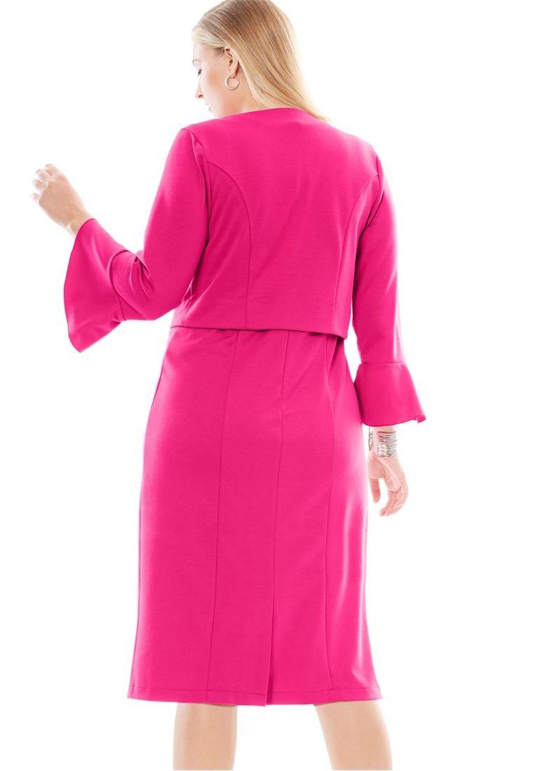 Jessica London Women's Plus Size Flounce Sleeve Ponte Jacket Dress Watercolor by Jessica London (Image #3)