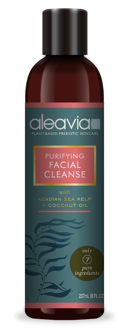 Aleavia Purifying Facial Cleanser - Organic, cleanser naturally helps with oily skin, acne, Psoriasis, Rosacea, Skin Allergies, Made from Aloe Vera, Sea Salt, Sea Kelp, Paraben Free 8 oz