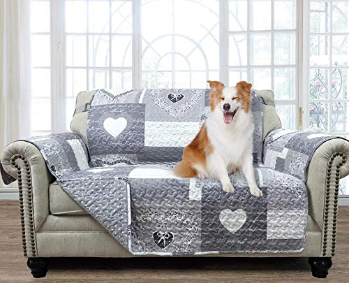 """Brilliant Sunshine Gray Heart Love Patchwork, Reversible Loveseat Protector for Seat Width up to 54"""", Furniture Slipcover, 2"""" Strap, Couch Slip Cover for Pets, Kids, Dogs, Cats, Love Seat, Gray"""