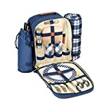 PicniKing 2 Person Picnic Backpack With Fleece Blanket, Insulated Interior, Wine Holder, Upgraded Stainless Steel Silverware, and Extra Glasses