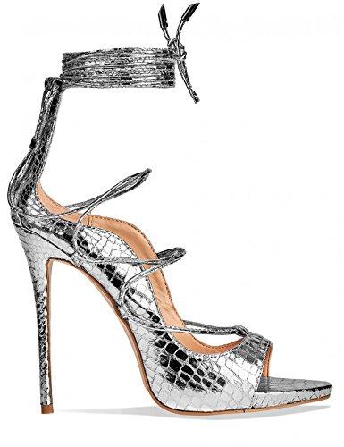 LAMODA Womens Strappy Lace up Heels in PU Silver ZmeohBtF