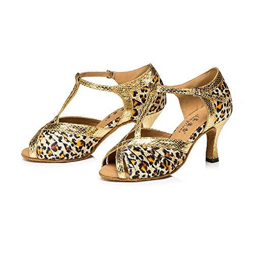 Señoras Zapatos De Baile Latino Zapatos De Chocolate El color de la piel de tigre 5cm