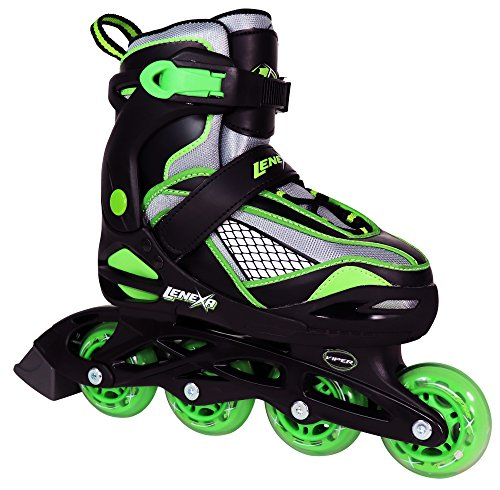 Inline Skates for Girls and Boys with Adjustable Sizing | Lenexa Viper Kids in-line roller skate blades | Comfortable fit | Safety non-slip wheels | Made for Fun (Black/Green, (Skate Blade Sizing)