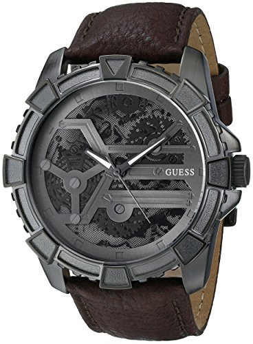 GUESS Men's U0274G1 Dynamic Brown Leather Watch
