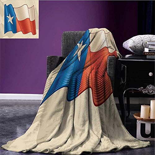 RenteriaDecor Texas Star Lightweight Blanket Flapping Texan Flag Lone Star Pattern with Retro Effect Americana Queen Size Blanket Vermilion Beige Blue Bed or Couch 60