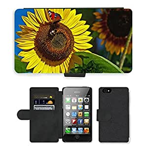 Super Stella Cell Phone Card Slot PU Leather Wallet Case // M00146446 Butterfly Bumblebee Insect Summer // Apple iPhone 4 4S 4G