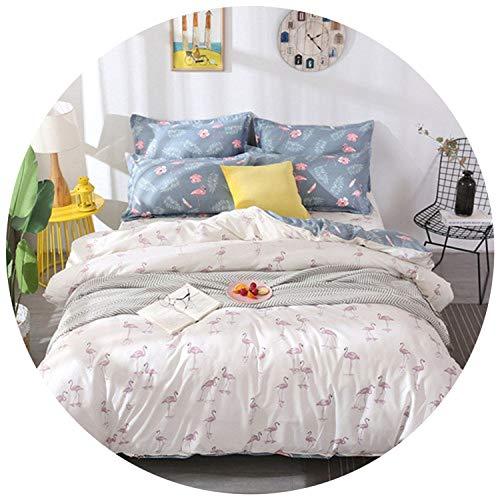 Set s Bed linens 3/4pcs Bedclothes Boys Girl Bed Set ren Duvet Cover Set Microfiber AB Side bedcover,White yezhongniao,Queen,Flat Sheet ()