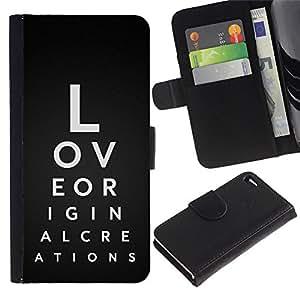 Billetera de Cuero Caso del tirón Titular de la tarjeta Carcasa Funda del zurriago para Apple Iphone 4 / 4S / Business Style Love Typography