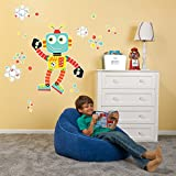 BirthdayExpress Science Robot Room Decorations Vinyl Wall Graphic Decal