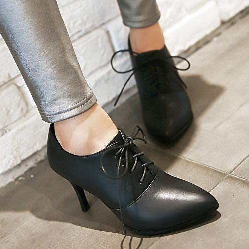 DecoStain Ankle Black Women's up Mature Lace Heel Pointed Dress Boots High Toe Thin ggrvn6UW