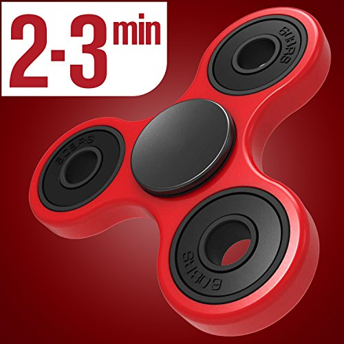 LYNEC Tri Fidget Hand Spinner, Ultra Fast Bearings, Finger Toy, Great Gift for ADD, ADHD, Anxiety and Autism Adult Children, Red