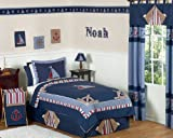 Sweet Jojo Designs 4-Piece Nautical Nights Boys Sailboat Children's Bedding Twin Set