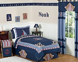 Nautical Nights Boys Sailboat Childrens Bedding 4pc Twin Set