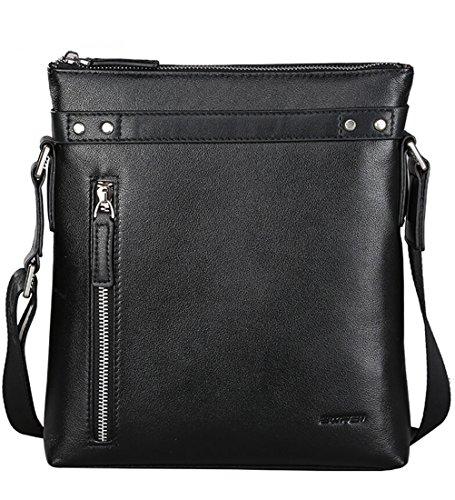Bopai Genuine Leather Messenger Bag Shoulder Bag Crossbody Bag for Businessmen (Black 2) by Bopai