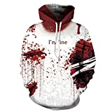 Lanruosi Unisex Couples Hooded Sweatshirt I'm Fine Letter Printed Hoodie No.2 L/XL
