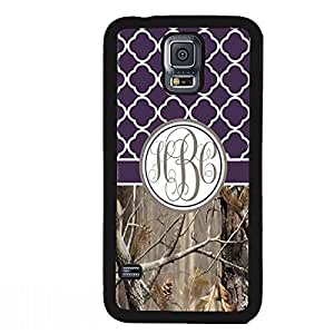 Country Girl Dark Purple Camo Quatrefoil Monogram CASE COVER FOR SAMSUNG GALAXY S5