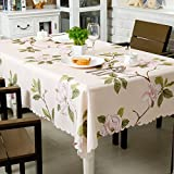 OstepDecor 100% Polyester Floral Print Tablecloth Waterproof Decorative Table Top Cover for Kitchen Dining Room End Table Protection - Rectangle/Oblong, 60' x 84'
