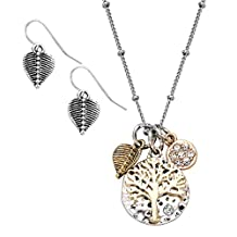 Tri Tone-tree of Life Silver Color Hammered Dangle Charm Necklace Earring Set