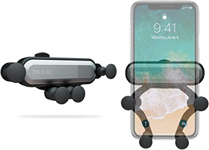 Car Phone Holder ICHECKEY Air Vent Cell Phone Car Mount Support Auto-Retractable Automatic Locking Clip Holder Universal for Smartphone 4.7-6.5 with Metal Frame