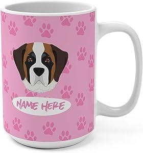 Saint Bernard Custom 15oz Ceramic Coffee Mug - Personalized Mugs for Gifts Moms Dads Dog Lovers Dishwasher Microwave Safe