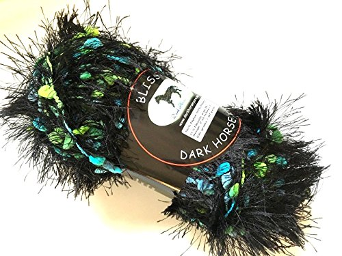 Dark Horse Yarns Bliss #505 Night Garden Fancy Fur Style Eyelash Popcorn Yarn, 100 Gram, 87 Yards - Fancy Fur Yarn