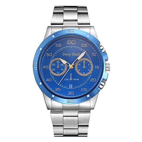 Mens Quartz Watch,Ulanda-EU Boys Analog Business Casual Wristwatch,Clearance Cheap Watches with Round Dial Tungsten Steel Case,Stainless Steel Band ka5 (Blue)