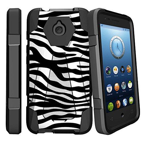 Rugged Shockproof Dual Layered [Drop-protection] Cover w/Kickstand Case for Alcatel Dawn / Streak / Acquire / Pixi Avion LTE / Pixi Bond - Black/White -