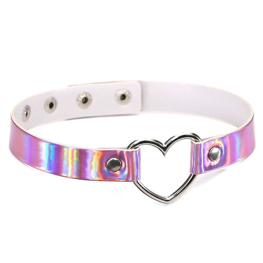 TraveT PU Leather Necklace Holographic Rainbow Choker Heart Metal Laser Collar Chocker Necklace