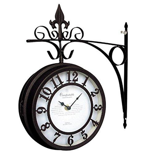 英国の駅のよう アイアン両面時計 ブラウン B008QUPVBY