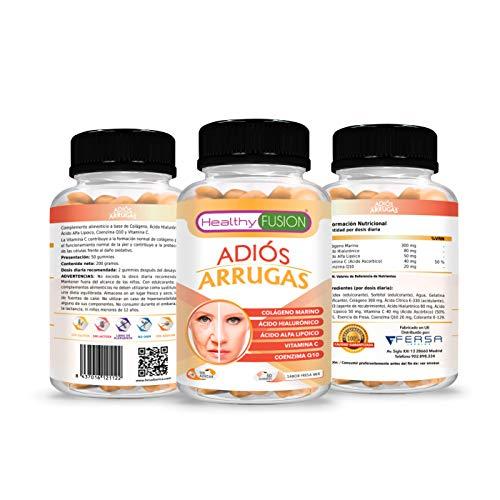 ADIÓS ARRUGAS | Trata y previene los signos de las arrugas | Colágeno Hidrolizado + Ácido Hialurónico + Coenzima Q10 + Ácido Alfa Lipoico + Vitamina C ...