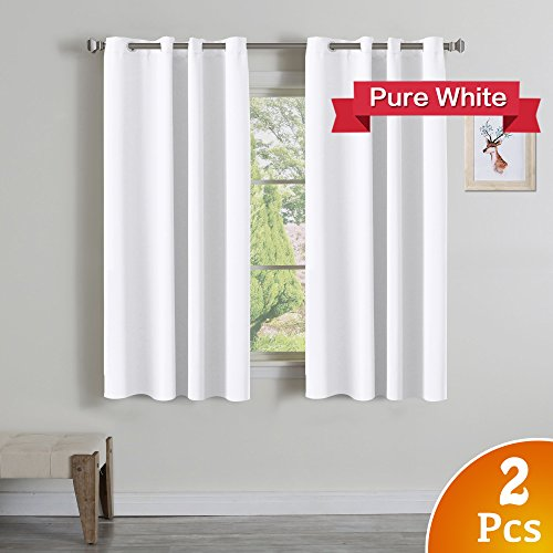 Turquoize Pure White Grommet Curtains Themal Insulated Nursery & Infant Care Curtains Each Panel 52