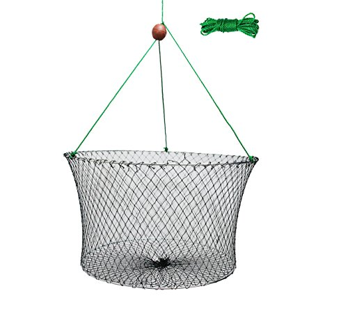 """Ouzong Double Ring Wire Crab Hoop Pier Net Fishing Lobster Shrimp Trap 23.6""""X19.7"""" with 26' Rope 11"""" (Lobster Hoop Net Fishing)"""