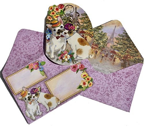 Punch Studio Boxed Set of 10 Gold Foil Embellished Die-Cut Fancy Note Cards ~ Paris Pooches 61531 ()
