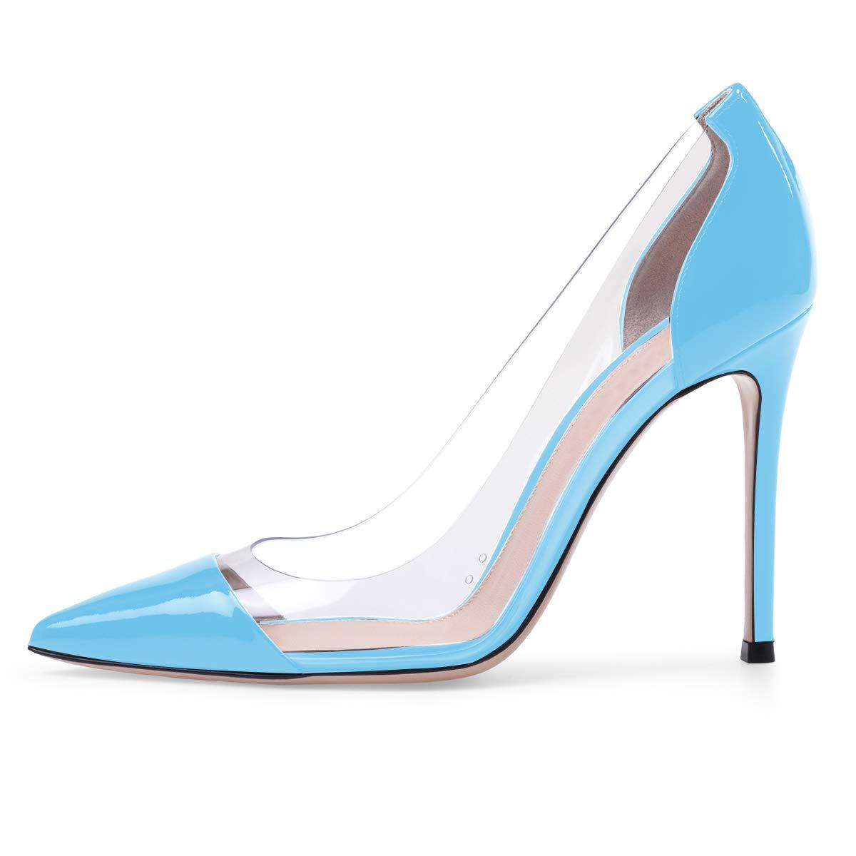 Eldof Women's 100mm Pointed Toe Transparent High Heels Pumps Party Wedding Dress Shoes Blue US11.5