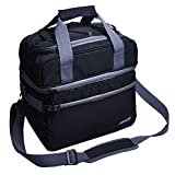 Kitchen & Housewares : MIER Double Compartment Cooler Bag Large Insulated Bag for Lunch, Picnic, Beach, Grocery, Kayak, Travel, Camping, Black