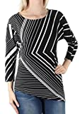 Alfani 60 Womens 1449 Black Striped Asymetrical 3/4 Sleeve Top S Petites B+B