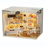 CUTEBEE DIY Dollhouse Miniature Kit &Toys, 3D Wooden Dolls House Furniture (Dust Cover + Music Movement+LED Light), 1:24 Scale Handmade Doll House Creative Birthday Gift, CAKE DIARY