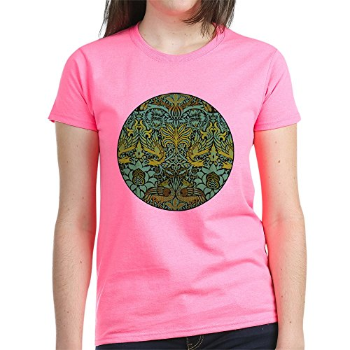 William Cotton Tapestry - CafePress - Peacock and Dragon William Morris Tapestry Design - Womens Cotton T-Shirt Pink
