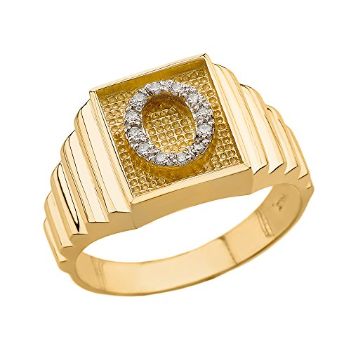 Men's 10k Yellow Gold Layered Band Square Face Diamond Initial Letter O Ring (Size 10.5) ()