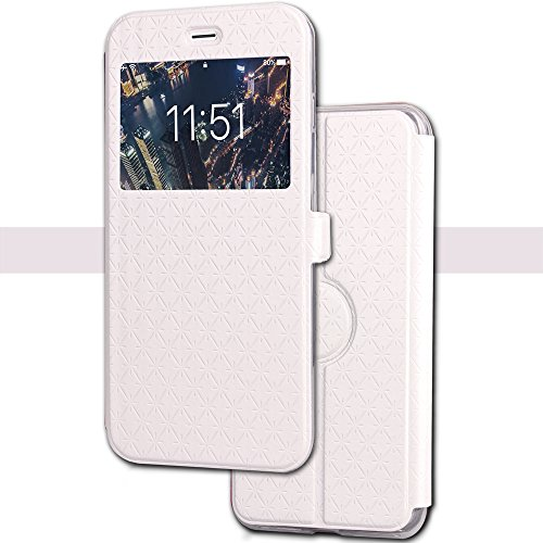 Wallet Leather Case for iPhone X, Smart Window Ultrathin case with Card Slot/Strap, 360 Full Body Drop Protective Magnetic Kickstand Flip Folio Cover for iPhone X Edition/iPhone 10 (Icon Leather Wallet)