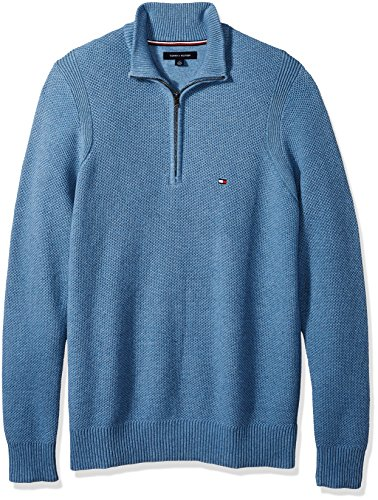 Tommy Hilfiger Men's Big and Tall 1/4 Zip Pullover Sweater, Medium Chambray Heather, BG-4XL by Tommy Hilfiger