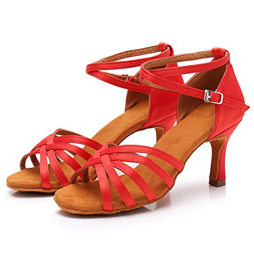 Women Dance Shoes Performance 75inch Latin Satin 213 Heels Salsa Shoes LP HROYL Dance 2 Ballroom Red pwdpt