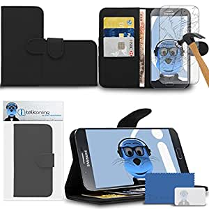 iTALKonline Samsung Galaxy A8 SM-A800F Black PU Leather Executive Multi-Function Wallet Case Cover Organiser Flip with Credit / Business Card Money Holder Integrated Horizontal Viewing Stand Includes Tempered Glass Protective LCD Screen Protector with MicroFibre Polishing Cleaning Cloth and Application Card