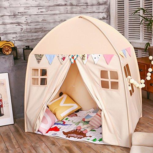love tree Kids Indoor Princess Castle Play TentsOutdoor Large Playhouse Secret Garden Play Tent - Portable for Indoor and Outdoor Fun Plays Beige One & Playroom Tent: Amazon.com