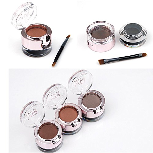 Eyebrow Powder Eyebrows+Eyeliner Gel Long-Wear Gel Eyeliner Black With Brush (Dark Brown Eyebrow+Black Eyeliner)