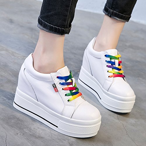 KPHY Faux Increase Fashion Round Strap Women Thirty Head Sponge Woman Shoes Leather nine Shoes Thick Shoe The Rainbow Which Cake White New rwpXPdrxq