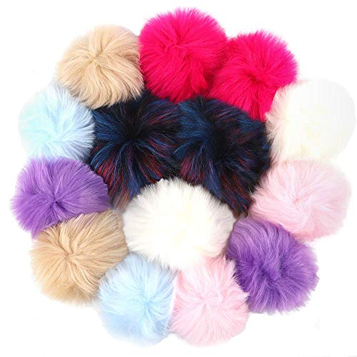 Outuxed 14pcs 5 Inches Faux Fox Fur Pom Poms for Hats with Rubber Band Fluffy Hat Pom Poms for Knitting Hats Scarf Key Ring Bag Accessories, 7 Colors, 12cm
